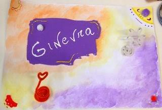 Disegno astratto multi-materiale con nome Ginevra