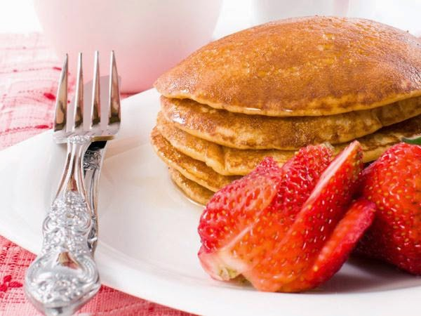 Three-Grain Ricotta Pancakes -> Recipe In Article