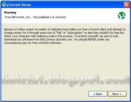 uTorrent Setup - Warning