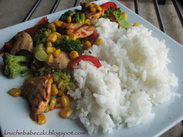 Warzywa, kurczaczek i ryż :))