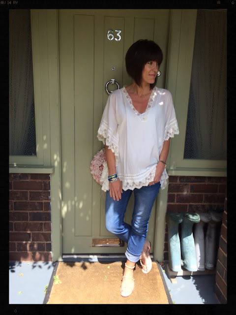 Neutrals and Denim, kaftan, Mint Velvet Boyfriend Jeans Denver, Hipanema, Zara bobble sandals, My Midlife Fashion, kaftan, lace