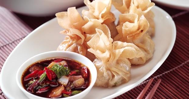 resep cara membuat pangsit rebus goreng isi daging ayam