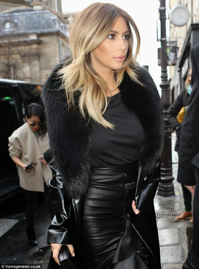 Kim Kardashian In A Floor Length Leather Skirt And Leather