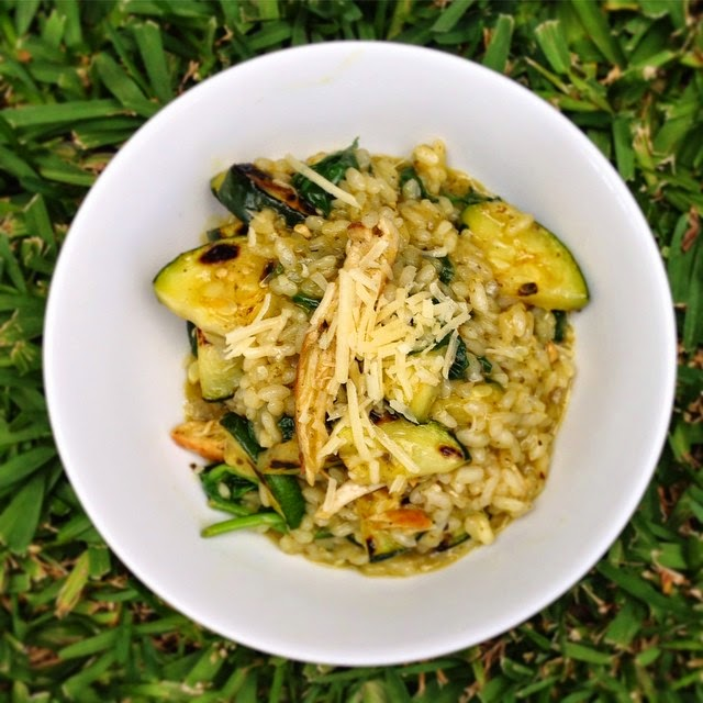 Pesto Parmesan Risotto with Grilled Chicken and Zucchini and Spinach