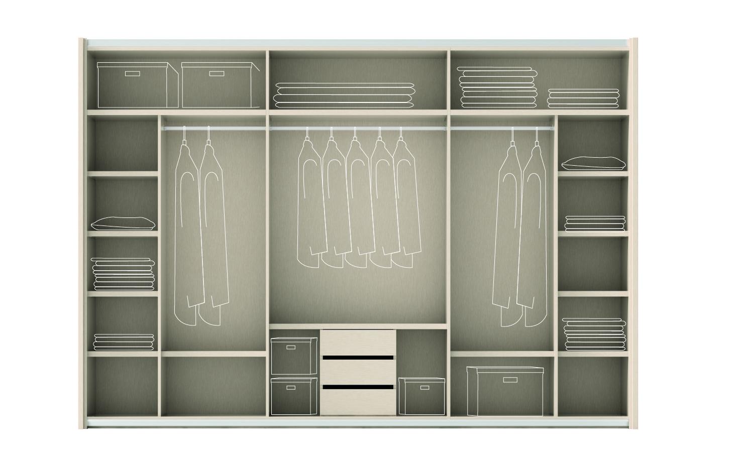 El armario y su interior muebles ros armarios for Organizacion de armarios empotrados