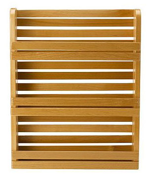 wood spice rack, wall-mounted