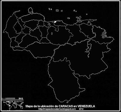 Mapa de la ubicacion de CARACAS, capital de VENEZUELA, blanco y negro