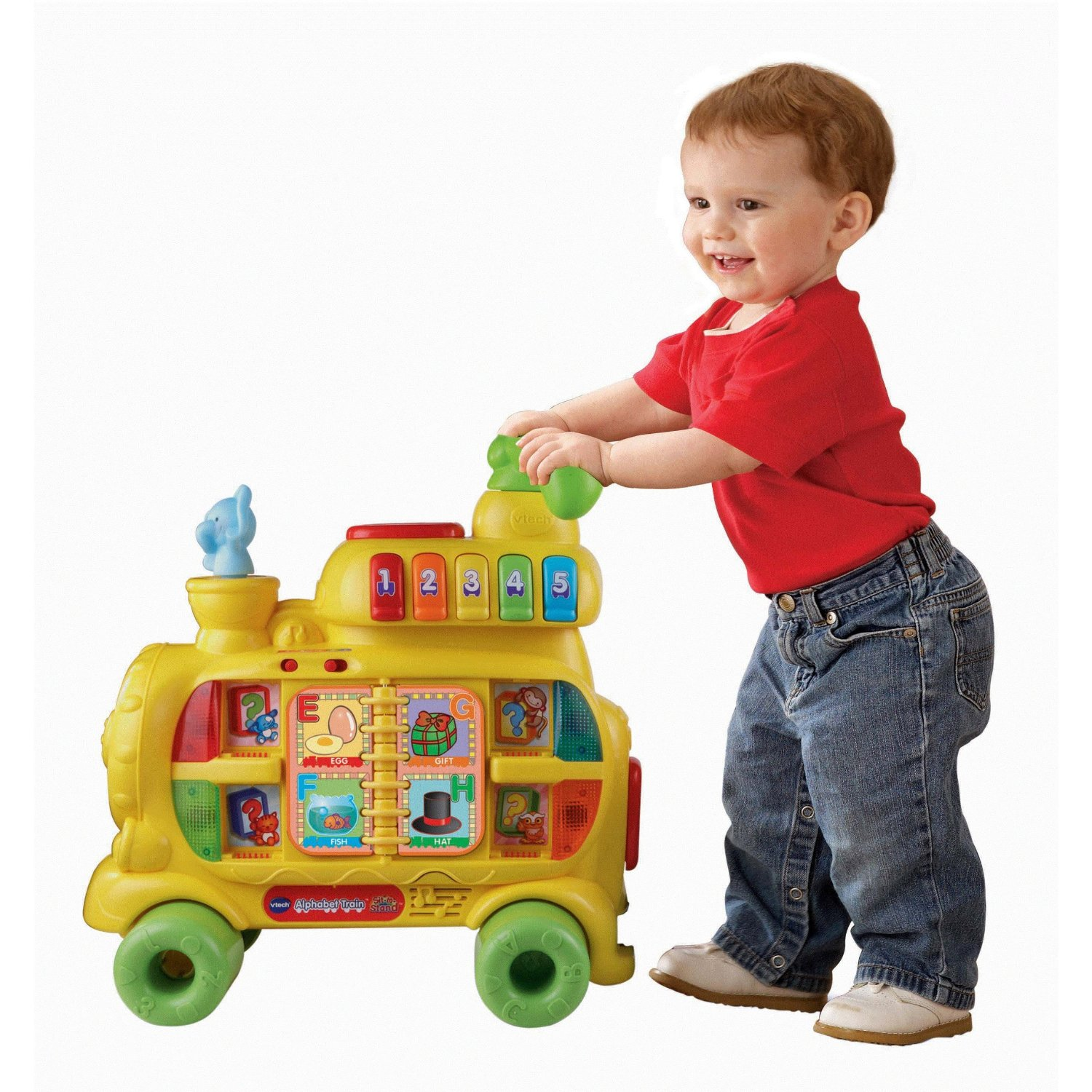 You can use alone for floor play push along as a walker or attach to the carriage as a ride on toy Plus with the Sit to Stand Alphabet Train