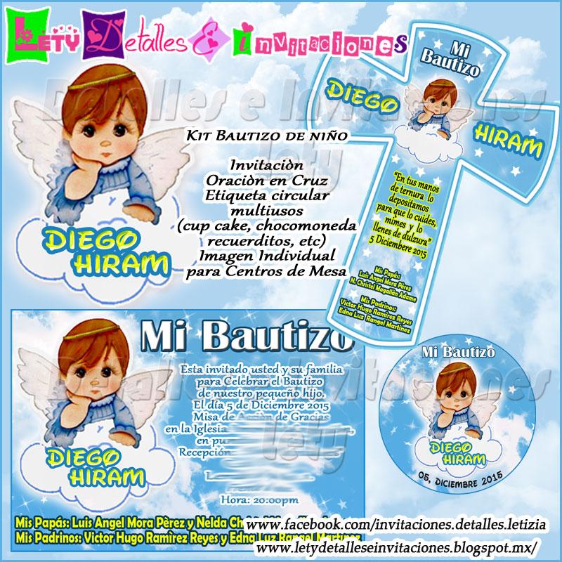 detalles e invitaciones x letici b kit de bautizo angelito para niño