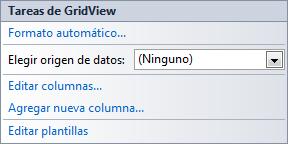 Areatic, ASP.NET 4.0 GridView, elegir origen de datos - Tareas de GridView