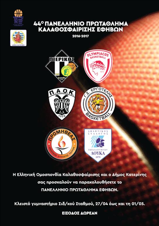 Τελική Φάση Πανελληνίου Πρωταθλήματος Εφήβων 2017 - Κατερίνη (27 Απριλίου - 1 Μαΐου)
