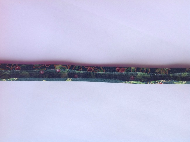picture of dark green strip with edges folded in towards the centre