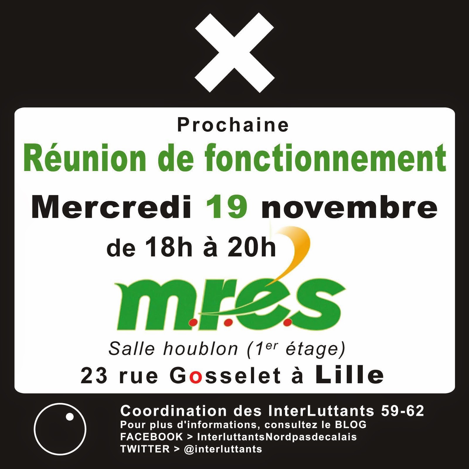 Réunion de fontionnement - Coordination interluttants 59-62 - le 19/11/14, de 18h à 20h - Mres