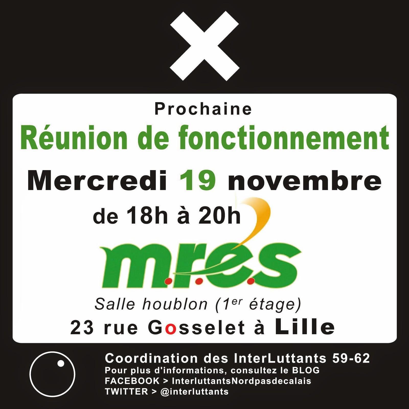 Réunion de fontionnement - Coordination interluttants 59-62 - le 19/11/14, de 18h à 20h - Mres