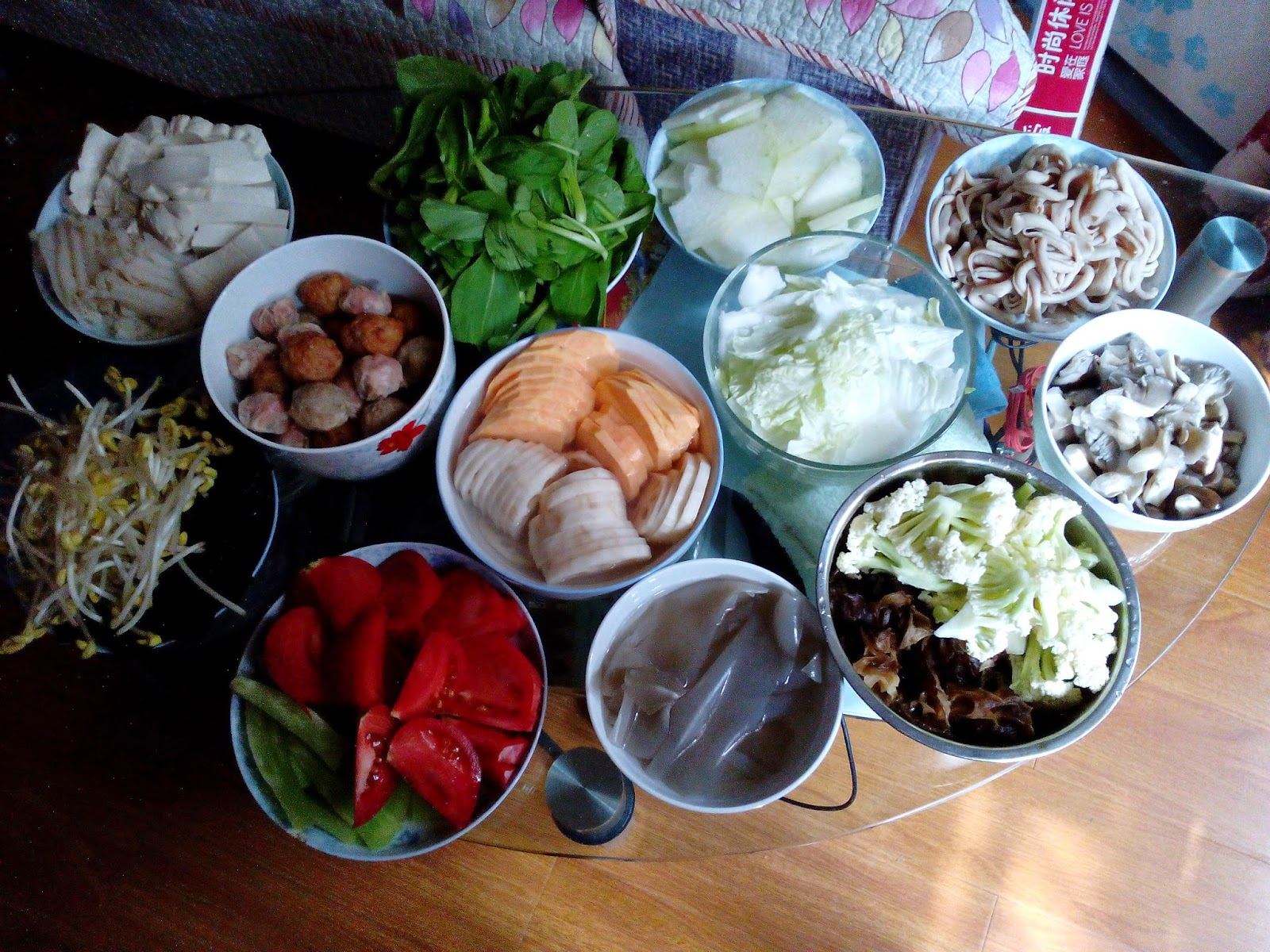 Meat and Vegetables for Spicy Hot Pot 1