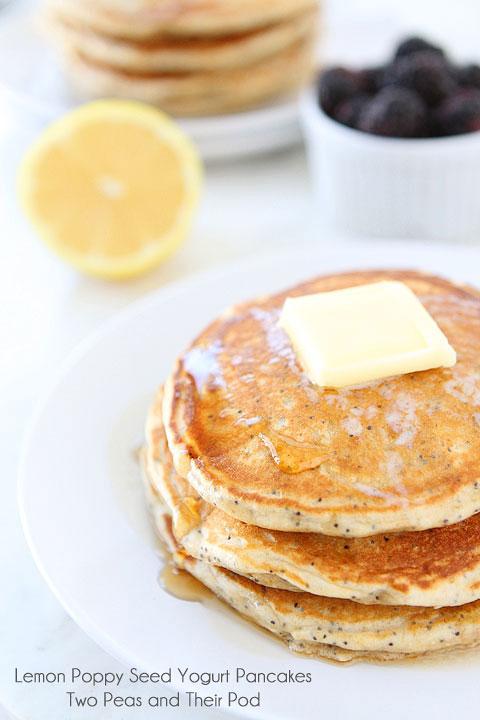 Lemon Poppy Seed Yogurt Pancakes by Two Peas and Their Pod