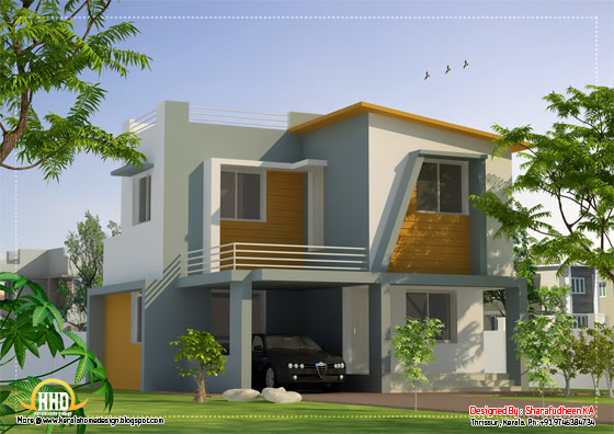 Contemporary house design - 1356 Sq. Ft. (126 Sq. Ft.) (151 Square Yards) - March 2012
