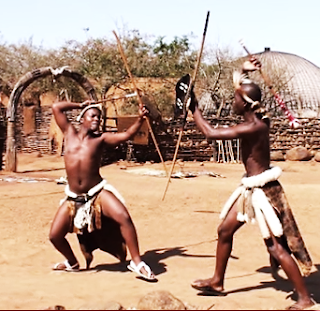 African art of intonga or stick fighting in action