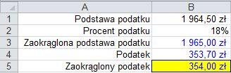 Zaokrąglanie liczb funkcją ZAOKR() - wynik