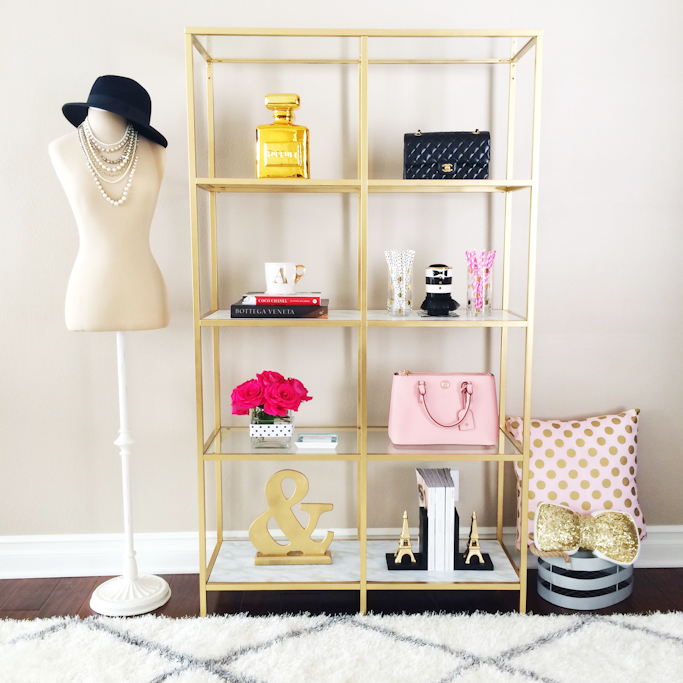 DIY Gold and marble shelves Ikea gold shelves hack gold ampersand eiffel tower bookends gold sequin pillow