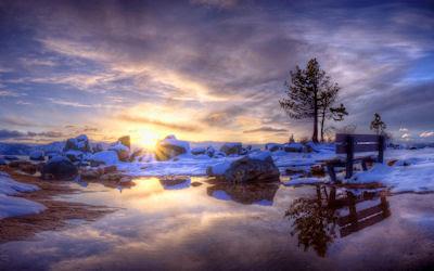 Amanecer en Invierno - Postales de paisajes nevados