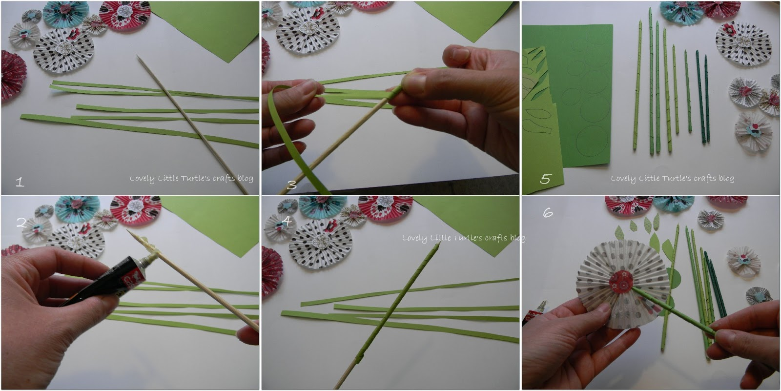 Lovely little turtles crafts blog dyi muffin liner paper flowers making the stems of the paper flowers mightylinksfo