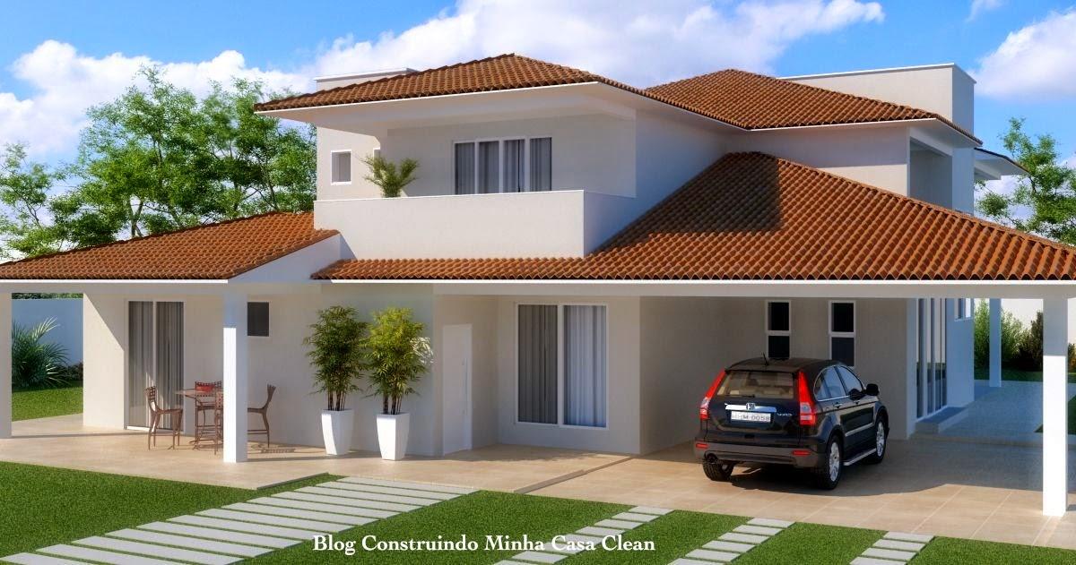 Construindo minha casa clean fachadas de casas com garagem for Casas modernas 4 aguas
