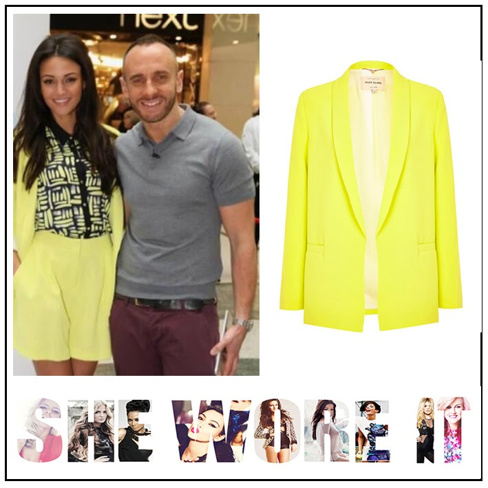Michelle Keegan, River Island, Neon Yellow, Blazer, High Waisted Shorts, Co-Ordinate Set, Navy Blue, Yellow Printed, Collared Shirt, Lorraine, Suit