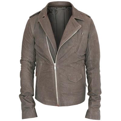 rick owens dust gray leather biker jacket
