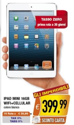 Ottima offerta sul volantino Oasi con sconto e tasso zero sull'iPad Mini di Apple fino a marzo