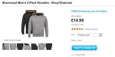 Bravesoul Mens 2-Pack Hoodies in grau und schwarz für rund 20 Euro