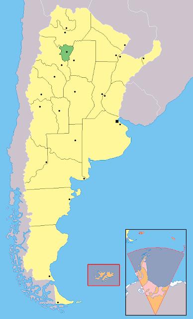 Mapa de localização da província de Tucumán - Argentina