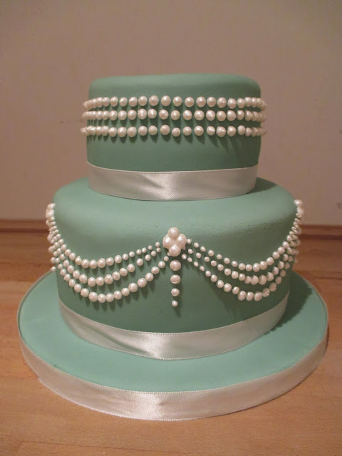 Two tier Tiffany Pearls cake