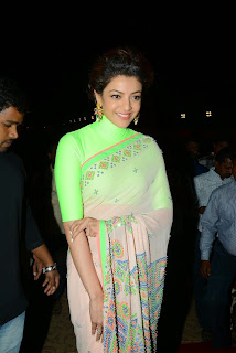 Actress Kajal Aggarwal Latest Pictures in Green Saree at Subbarami Reddy Grandson Rajiv Marriage Function 1