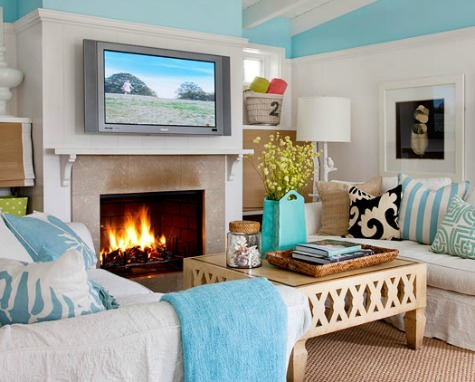 Ocean Blue Cottage Living Room
