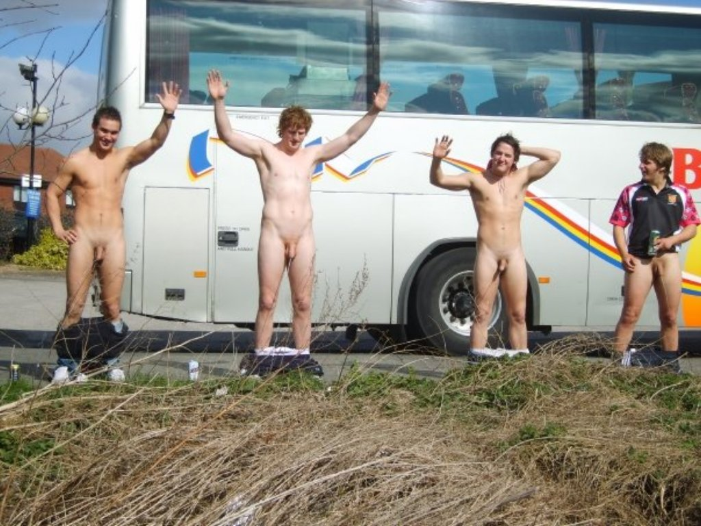 Naked boys pee