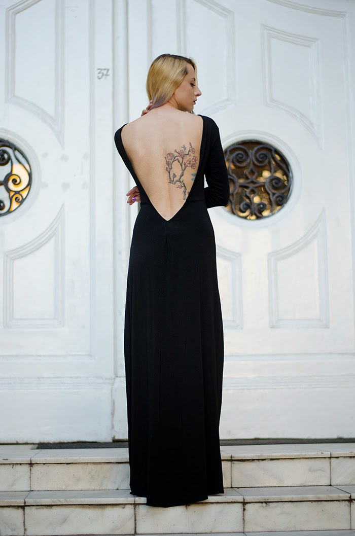 open back black dress cherry blossoms tattoo