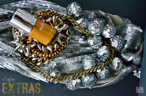 holiday glam accessories - sparkly sequins, spike bracelets & sequin scarf