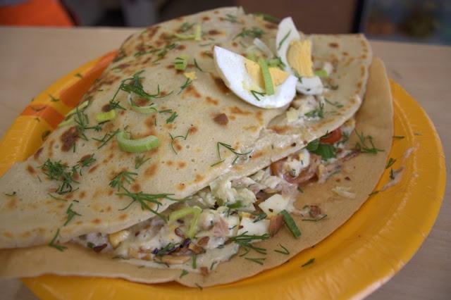 Pancake with tuna salad