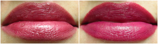 alverde Color & Care Lippenstift - 60 Sweet Berry & Lippenstift 28 Deep Violet Swatches, Tragebilder
