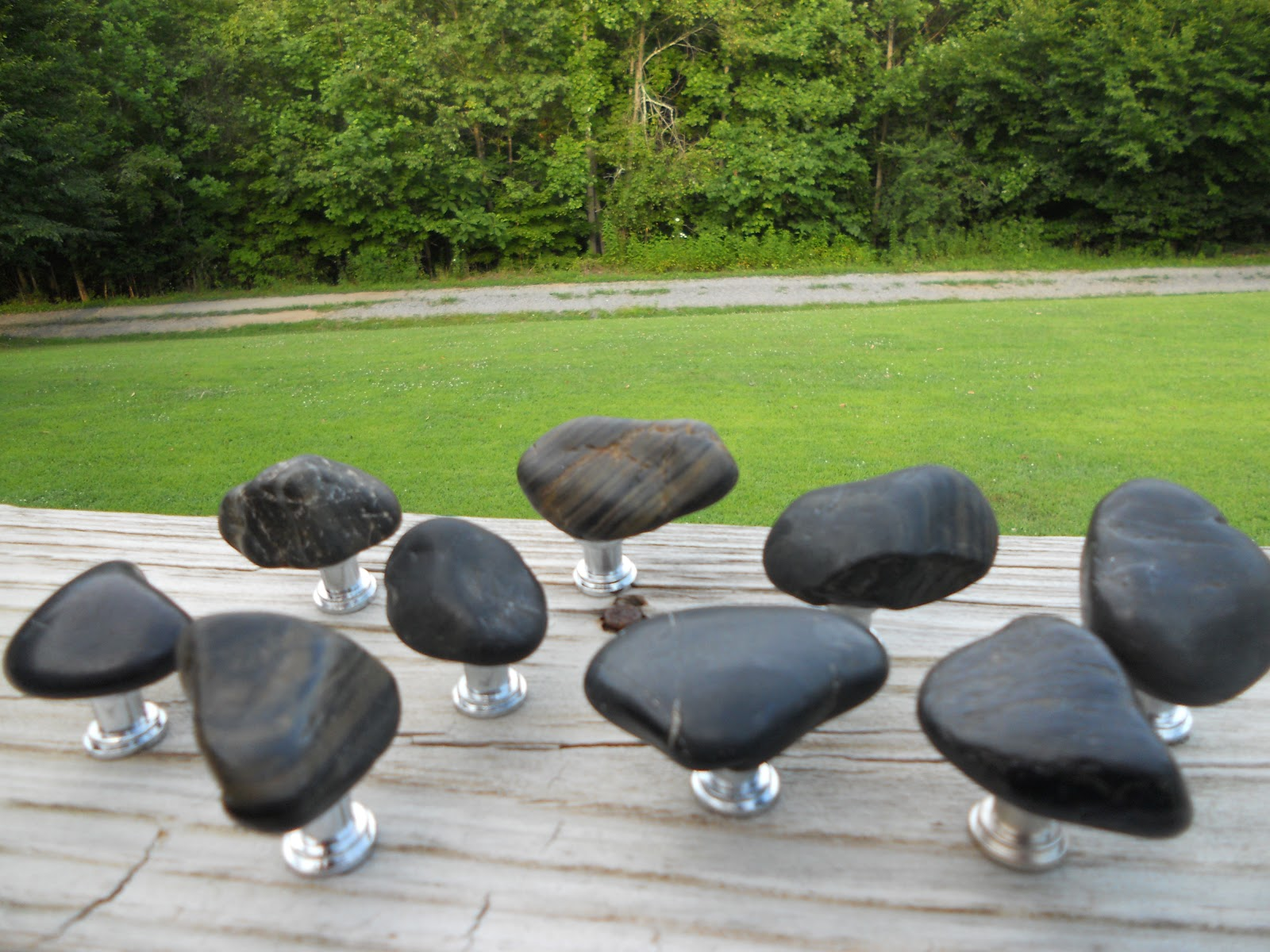 Custom Made River Rock Cabinet Knobs and Drawer Pulls | Rock ...