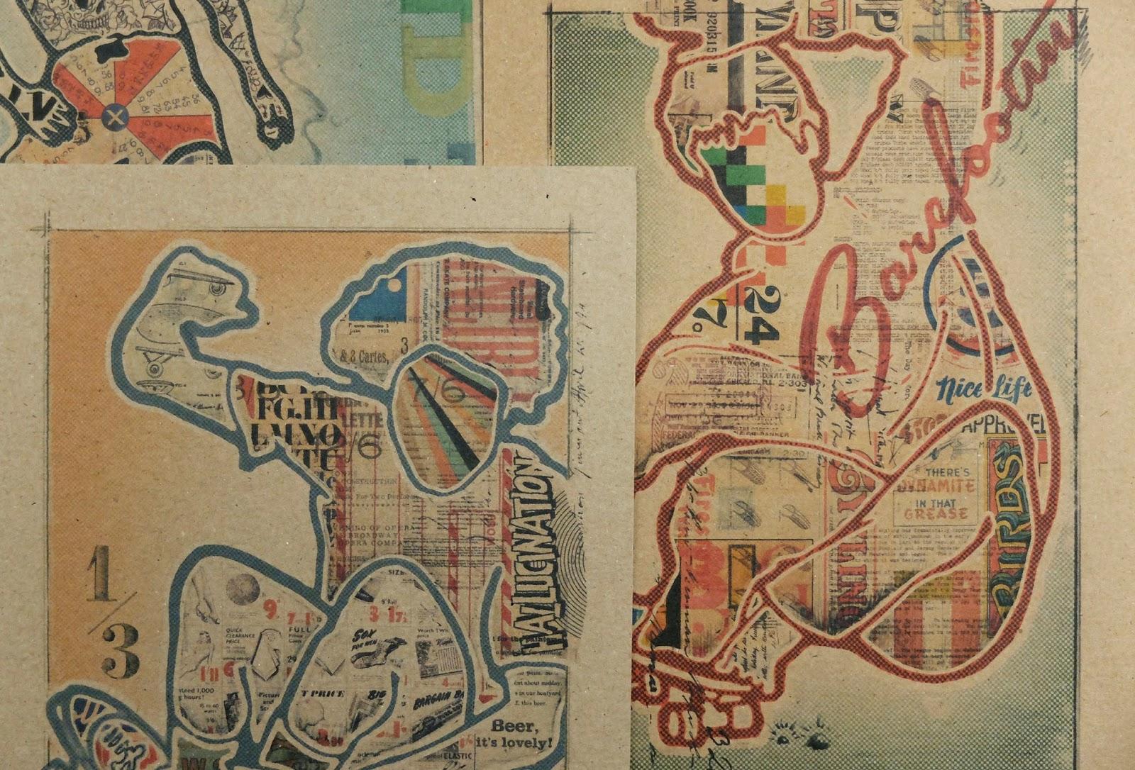 Test prints, skateboarding art, recycle paper