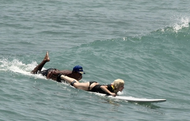 Lady GaGa Surfing in Puerto Vallarta, Mexico