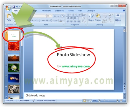 Gambar:  Cara mengedit presentasi photo slideshow di microsoft powerpoint