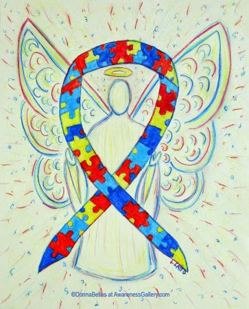 Puzzle Piece Awareness Ribbon Guardian Angel Art Original Painting