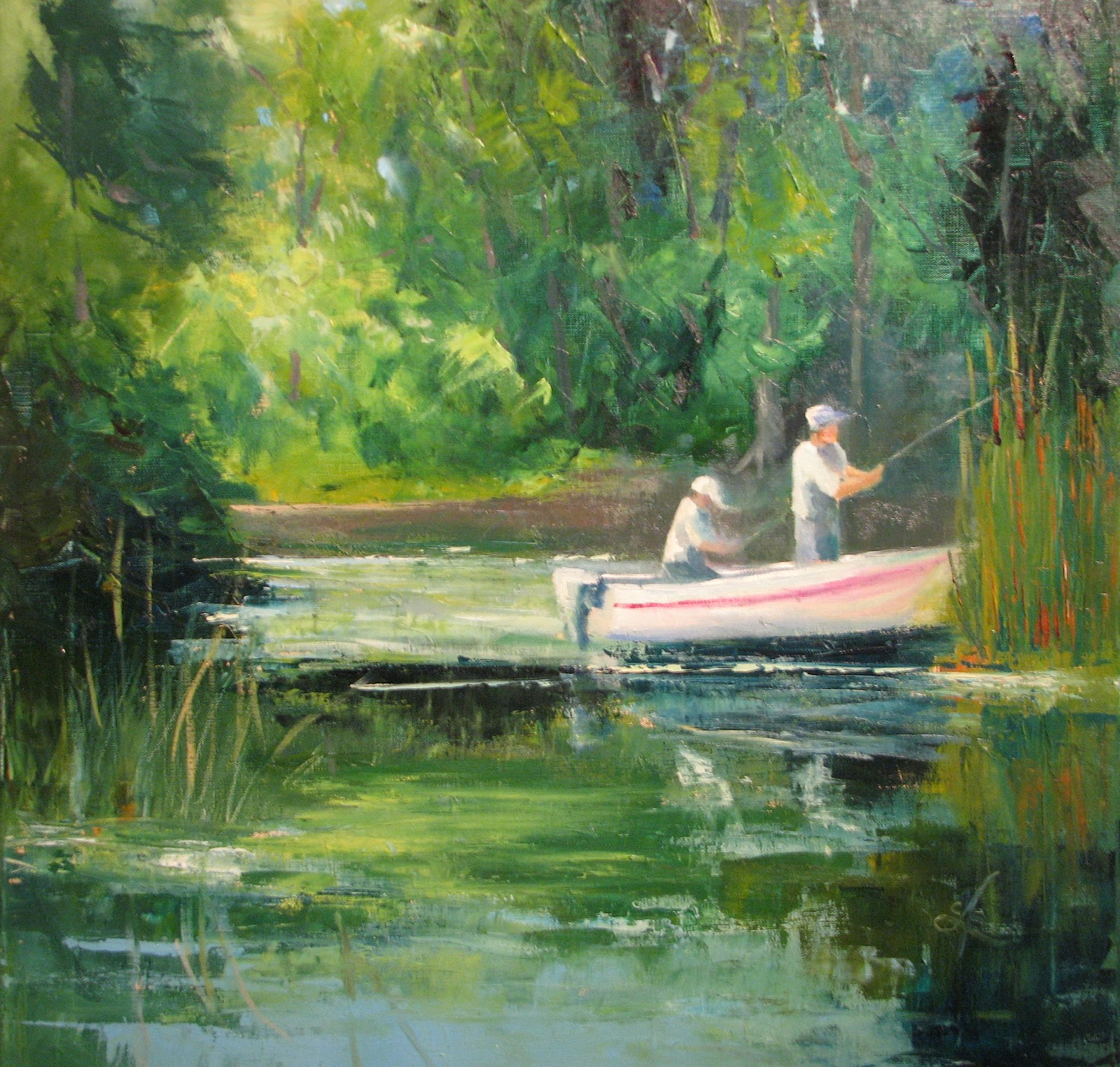 Cathyann39s Studio Backbay Fishermen Landscape Oil Painting