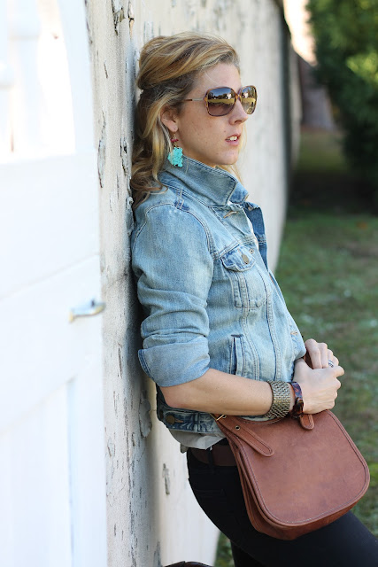the Queen City Style, Charlie 1 Horse boots, Gap denim jacket, Gap black jeans, J. Crew blouse, Natural Born Thriller Sunglasses, A. Liz Designs Earrings, Coach Cross Body Purse