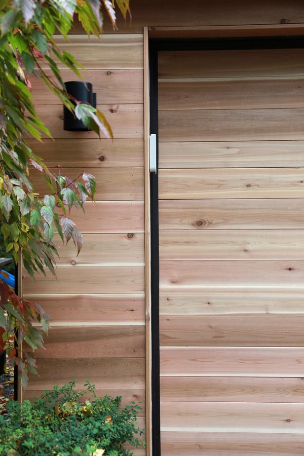8footsix cedar garage for Cedar clad garage doors