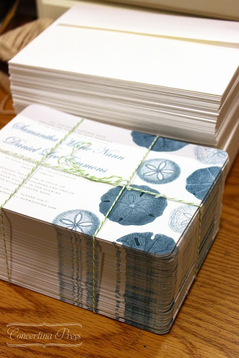 Sand Dollar Beach Wedding Invitations by Concertina Press