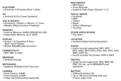 Starmobile Engage specs